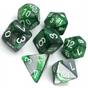Green & Steel Gemini Polyhedral 7 Dice Set